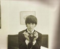 """George Harrison, self portrait. Sometimes referred to as the """"quiet Beatle"""",Harrison became over time an admirer of Indian culture and mysticism, and introduced it to the other Beatles, as well as their Western audience George Harrison, Martin Scorsese, Tom Petty, Ringo Starr, Eric Clapton, Bob Dylan, Paul Mccartney, Preston, Material World"""