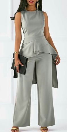 Grey Two Piece Sleeveless Peplum Jumpsuit Sleeveless Asymmetric Hem Top and Grey Pants Look Fashion, Fashion Outfits, Womens Fashion, Latest Fashion, Girl Outfits, Grey Fashion, Trendy Outfits, Fashion Trends, Jumpsuit Elegante