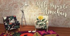 Rifle Paper Co. Armchair at Hamburger Cakes via Sims 4 Updates