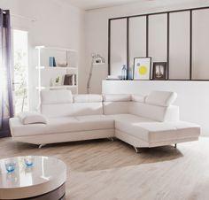 Canapé Imitation cuir d'angle fixe 5 places + Têtières decodesign / Décoration