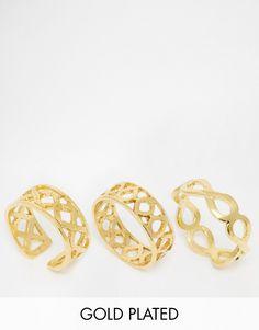 Mega lækre Ottoman Hands Stacking Multipack Rings - Gold Ottoman Hands Ringe til Damer til enhver anledning