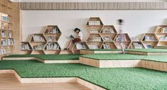 Image 4 of 23 from gallery of Lishin Elementary School Library / TALI DESIGN. Classroom Architecture, Library Architecture, Education Architecture, School Architecture, Architecture Design, School Library Design, Elementary School Library, Kids Library, Elementary Schools