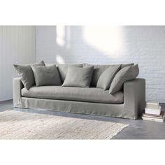 Sofá 3 plazas de lino lavado gris claro Gaspard | Maisons du Monde
