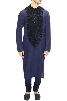 LAIDBACK LUXURY : Dark indigo kashmiri embroidered kurta set by Sabyasachi. Sabyasachi Sarees, Anarkali, Lehenga, Wedding Dresses Men Indian, Wedding Dress Men, Indian Men Fashion, India Fashion, Women's Fashion, Gents Kurta