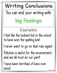 Are your students having a hard time ending their personal narrative or expository writing pieces? These writing conclusions anchor charts are helpful with providing a variety of ways to close their writing for their reader! Get 16 different ways to end your writing in an interesting and intriguing way! #writingworkshop #anchorcharts #writingconclusions #narrative #expository #conclusions Writing Strategies, Book Writing Tips, Writing Words, Writing Lessons, Kids Writing, Teaching Writing, Writing Activities, Writing Ideas, Expository Writing