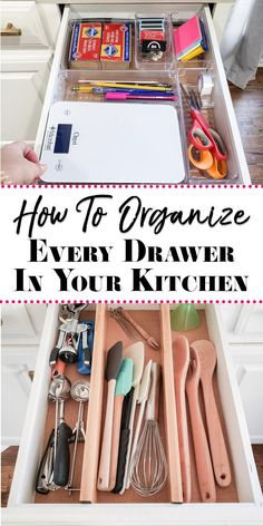 How to Organize Kitchen Drawers - From cooking tools to the junk drawer, see how we organize every drawer in our kitchen! How to Organize Kitchen Drawers - From cooking tools to the junk drawer, see how we organize every drawer in our kitchen! Kitchen Utensil Organization, Kitchen Storage Hacks, Kitchen Hacks, Diy Kitchen, Organization Ideas, Organize Kitchen Utensils, Organizing Kitchen Drawers, Organize Junk Drawer, Bedroom Organization