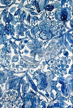 Bleu et blanc motif floral By Luli Sanchez Motifs Textiles, Textile Patterns, Textile Design, Print Patterns, Blue Patterns, Pattern Art, Pattern Design, Surface Pattern, Deco Floral