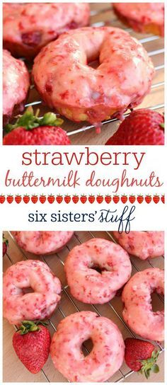 Strawberry Buttermilk Doughnuts on SixSistersStuff.com