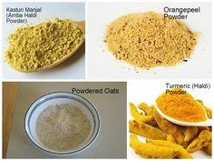 Homemade facial ubtan-ingrediesnts-turmeric-oats-amba haldi-orange peel powder