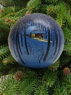 """Forest Cabin"" Christmas ornament.  ( My favorite kind of decorations ♥ )"