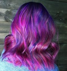 ... Beautiful Fuchsia Pink and Purple Color Melt and layered Lob by @gothdollyparton #hotonbeauty