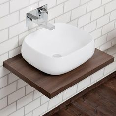 Nova Wall Hung Slimline Countertop Basin Shelf (600mm Wide - Dark Wood)