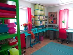 Bright Danish Studio ~ Love how the sewing machine is painted the same color as the countertop ~