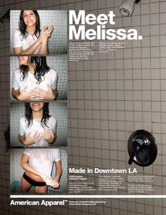 Meet Melissa, she's never nude because she loves American Apparel so, but has something against bras.