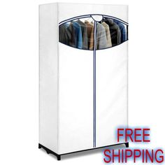 Portable Clothes Closet Wardrobe Shoes Organizer Storage Bedroom Metal Frame NEW #EssentialHome