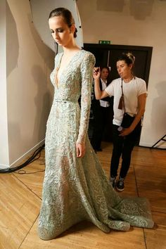 Backstage at Elie Saab Haute Couture Fall - Winter 2014 Show.