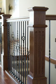Stair Systems | Square Fluted Box Newels With Wood Handrails And Wrought  Iron Basket Balusters |