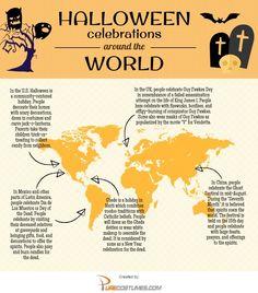 Halloween around the world - PureCostumes.com/blog #halloween #infographics