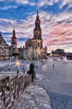 "View towards #Hofkirche from ""Brühl's Terrace"" in #Dresden."