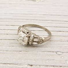 Vintage 145 Old Cushion Cut Diamond Engagement by ErstwhileJewelry. I love this vintage ring!!!