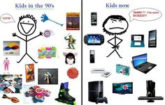 """Only 90's kids will understand!""  This image is a humourous way to highlight the differences between then and now. It shows what young people in the 90's would've engaged in, and compared it to what kids engage in today. It is not scholarly, nor accurate, but it provides a different way to understand continuity and change.  Key Words: time, continuity and change, technologies, globalisation."