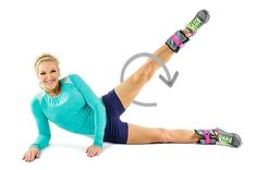 weighted leg circles workout Brooke Griffin leg weight blue outfit