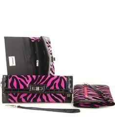 Pink Zebra Print Turnlock Wristlet Wallet - Handbags, Bling & More!