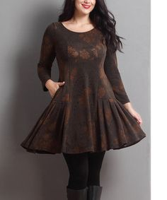 Look what I found on #zulily! Brown Floral Swing Tunic - Plus #zulilyfinds