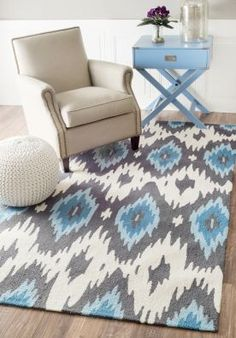 $5 Off when you share! Fergana UZB43 Ikat Slate Rug | Contemporary Rugs #RugsUSA