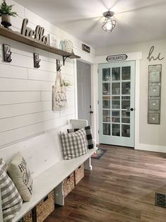 Home Interior Green Modern Farmhouse Mudroom Tour - DIY Faux Shiplap - Farmhouse Entry - Church Pew Refresh Modern Farmhouse Bedroom, Modern Farmhouse Kitchens, Farmhouse Design, Modern Bedroom, Rustic Farmhouse Entryway, Farmhouse Bedroom Furniture, Rustic Entry, Black Bedrooms, Gothic Bedroom