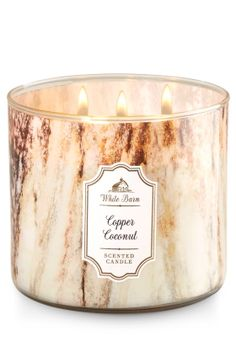 Copper Coconut 3 Wick Candle   - Raw Coconut, Sea Salted Shells, Soft Amber