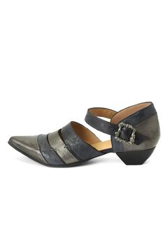 """The Alison is a stone cold mary jane with a tough attitude. Crafted from contrasting smooth and pebbled leathers in Portugal these brooding beauties feature handstitched detailing and a 1.5"""" leather wrapped heel on top of an antique silver skull buckle.  Pair with tights and a shift dress for a classic look or pair with torn jeans for a rugged look!   Heel Height: 1.5"""" Alison Mary Jane by John Fluevog. Shoes - Pumps & Heels - Low Heel Cleveland Ohio"""