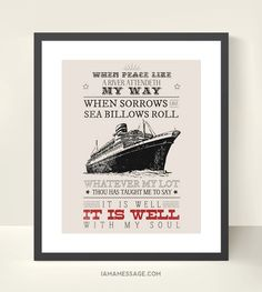 Christian Art Scripture Print - inch - It is Well with my Soul - Bible Hymn. Scripture Crafts, Bright Morning Star, Spiritual Armor, Now Faith Is, Boat Art, Meaningful Words, Christian Art, Creative Words, Faith Quotes