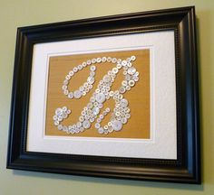 Personalized Vintage Button Monogram on Gold Silk, Button Letter Ready-To-Frame, Great Wedding, Baby Shower Gift (frame not included)