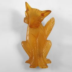 Yellow Bakelite Cat pin with moveable head