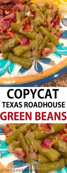 Texas Roadhouse Green Beans Copycat - CentsLess Meals I am really excited to share this recipe Texas Roadhouse Green Beans recipe with you because it's soo yummy! Bacon Recipes, Veggie Recipes, Chicken Recipes, Cooking Recipes, Green Vegetable Recipes, Beans Recipes, Copykat Recipes, Top Recipes, Quick Recipes
