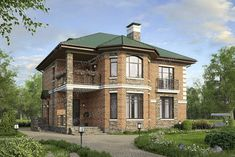 Проект жилой дом #40-12K1L материал - кирпич, стиль скандинавский Exterior House Colors, My House, Brick, Sweet Home, How To Plan, Mansions, Architecture, House Styles, Projects