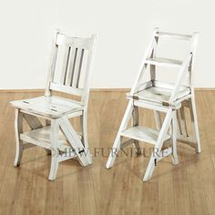Nice Solid Mahogany Distressed White Convertible Ladder Chair Step Stool A113bdw