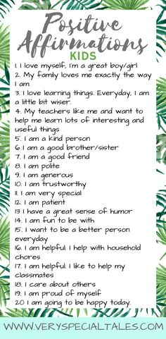 Free Printable Positive Affirmations for Kids: A Powerful Tool for Self-Esteem - Very Special Tales - Kids and parenting - Positive Affirmations For Kids, Positive Self Talk, Morning Affirmations, Positive Self Esteem, Daily Affirmations, Motivation Positive, Positive Mindset, Positive Quotes, Gratitude Quotes