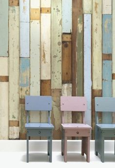 Reclaimed Wood Wallpaper (Sloophout Behang) by Piet Hein Eek, made in Holland Holz Wallpaper, Wallpaper Roll, Amazing Wallpaper, Rustic Wallpaper, Beige Wallpaper, Striped Wallpaper, Wallpaper Ideas, Wallpaper Backgrounds, Coastal Wallpaper