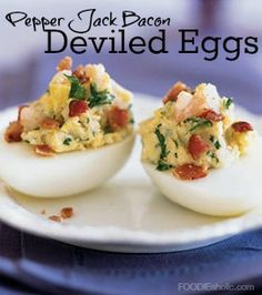 Pepper Jack Bacon Deviled Eggs | FOODIEaholic.com #recipe #cooking #appetizer #eggs