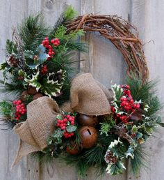 Christmas Wreath, Holiday Décor, Woodland Christmas, Rustic Jingle Bells, Winter…