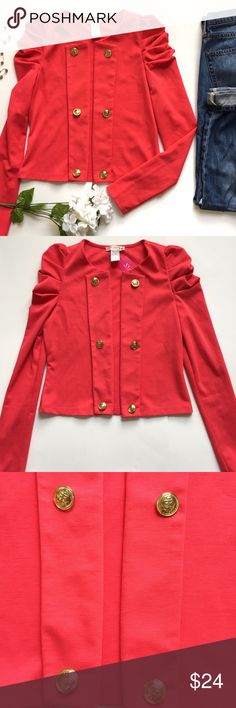 NWT Coral Open Front Blazer Who said fall is for boring colors? This vibrant blazer comes in coral and features, puff long sleeves, an open front and six navy-inspired gold buttons. NWT. 60% polyester, 35% rayon, 5% spandex. a'gaci Jackets & Coats Blazers