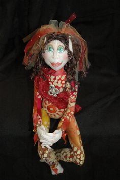 "OOAK Cloth Art Doll by Thimblelina's Closet.  ""Dragonfly"""