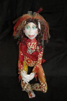 "OOAK Cloth Art Doll by Thimblelina's Closet.  ""Dragonfly"""