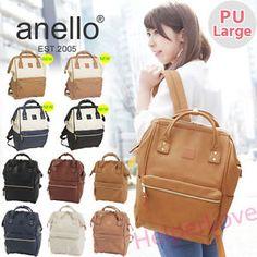 Japan-Anello-Original-Unisex-PU-Faux-LEATHER-LARGE-Backpack-Rucksack-School-Bag Japan Bag, Rucksack Backpack, Woman Clothing, School Bags, Backpacks, Unisex, Clothes For Women, The Originals, Classic