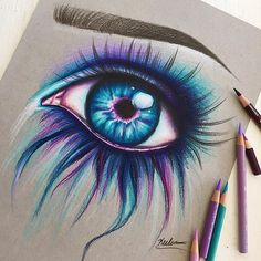 46 Ideas Art Inspiration Drawing Sketches Colored Pencils For 2019 Pencil Art Drawings, Love Drawings, Art Drawings Sketches, Colorful Drawings, Drawings With Colored Pencils, Drawings Of Eyes, Art Drawings Beautiful, Eyes Artwork, Paintings Of Eyes