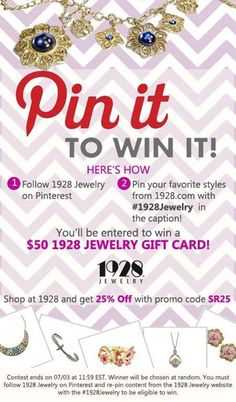 Pin it to Win it Giveaway - StudentRate[trends]. Enter to win a $50 gift card from #1928Jewelry!