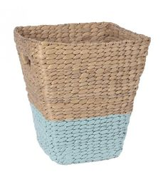 WATER HYACINTH BASKET IN TURQUOISE_NATURAL COLOR 29X26X30