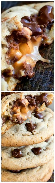 Salted Caramel Chocolate Chip Cookies ~ Soft, chewy and easy to make with an ooey gooey center... They are huge, like bakery style cookies!